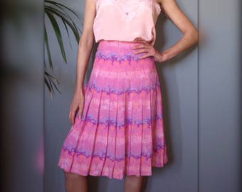 Pleated skirt vintage 70 s high noon pink and purple size (XS/34)