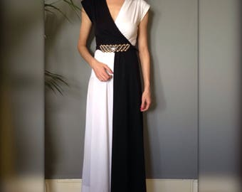 Dress long vintage french 80 s black and white chart infinitive (XS/34)