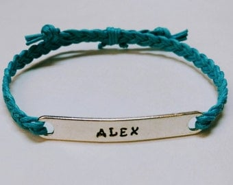 Custom Stamped Bracelet- Braided- Friendship Bracelet- Medical ID- Personalize- Pick your color cord- Up to 14 letters