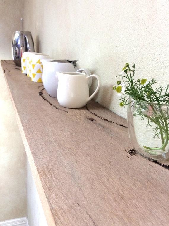 Floating Wood Shelves Long Kitchen Floating Shelf Rustic