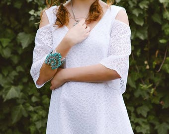 Cotton Lace Cold Shoulder Dress