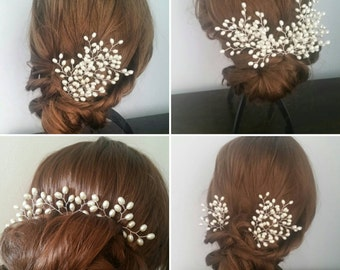 Set of 3 pearl hair pins/wedding hair pins/bridal hair pins/hair vine/bridal hairpiece/wedding headpiece/ivory hair pins/bridesmaid hair pin