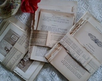 Vintage antique paper pages from old novels books for decoupage collage mixed media scrapbooks cards arts crafts