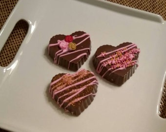 Chocolate Covered Oreos with Pink, Red and Gold