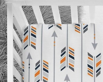 Tribal Arrows, Arrows crib sheet, Grey baby bedding, Orange, Blue, Baby bedding, Modern baby, Baby boy, Orange crib sheet, Navy nursery