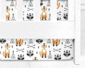 Fox and Raccoon crib skirt, Arrows and teepees crib skirt, woodland bedding, woodland nursery, arrows crib skirt, woodland baby, arizona bed