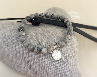 Jasper beaded bracelet, African Turquoise Bracelet, Scenery Jasper beads, yoga bracelet, stacking bracelet, green African Turquoise