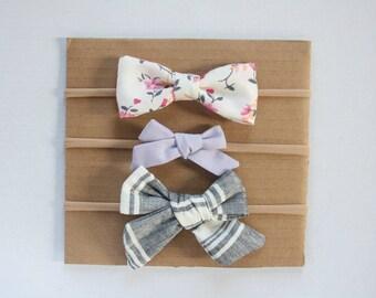 Bow 3-Pack - Matilda - bow nylon headband alligator clip baby bow