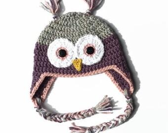 Crochet Owl Hat | Earflap Hat | Crochet Beanie | Crochet Toque | Animal Hat | Photo Prop | Newborn | Baby | Toddler | Child | Teen | Adult