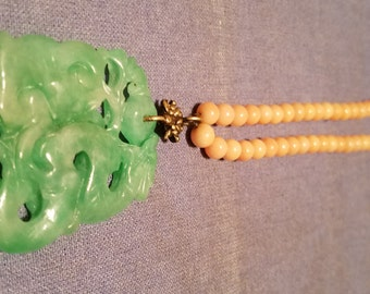 Very Beautiful Chinese Coral Necklace with Jade/Jadeite Pendant.