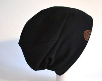 Beanie Hat Black Jersey Beanie