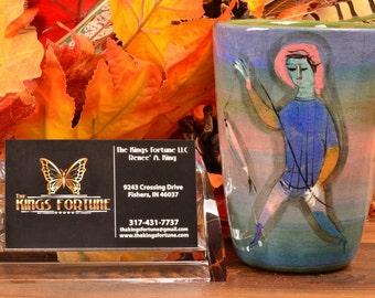 Pillin Pottery Vase, Boy Fishing with 2 Girls Blue Vase