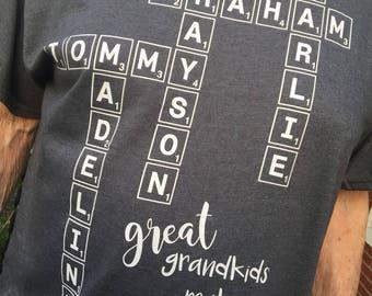 Grandparent / Great Grandparent Shirt - All Grandkids Names, Grandparent Gift, Birthday Gift, Holiday Gift