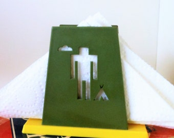 Reserved Native American Napkin Holder Indian and Deer St. Labre Indian School Napkin Holder, Plastic Avocado Green and Yellow Napkin Holder