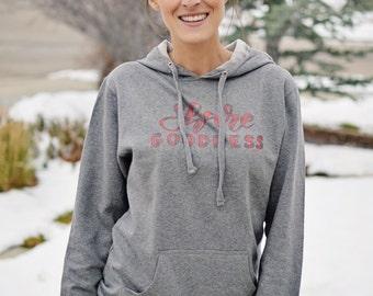 Share Goodness Gray Hoodie, buffalo plaid, gray hoodie, share goodness, positive hoodie, positive, positive sweatshirt, happy sweatshirt