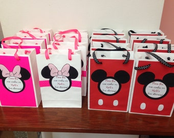 minnie and mickey mouse party bags. minnie and mickey mouse goodie bags. minnie and mickey mouse party favors. set of 16