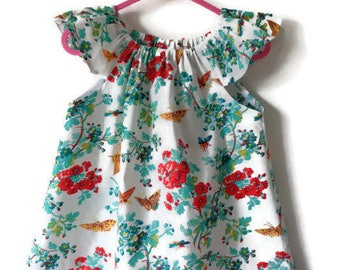 Girls top, butterfly top, girls clothing, girls blouse, girls clothes, summer clothing, tropical print, tropical clothing, flutter sleeves