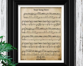 5th Anniversary Wood Gift for Men | Anniversary Personalized | Custom Sheet Music Art Wood Frame | Husband Anniversary | 5 Year Anniversary