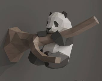 Panda Papercraft, DIY 3D Papercraft Wall Decoration, Panda Lowpoly Unique Gift, Printable PDF Template, Funny Panda Room Decor, Panda Bear
