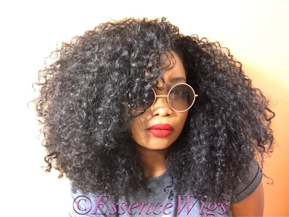 ... BIG Hair Kinky Curly Wig Black Premium Sustainable Hair Unit Wig 3b 3a