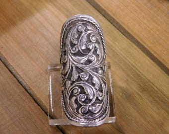 Vintage Long Paisley Sterling Silver Ring Adjustable