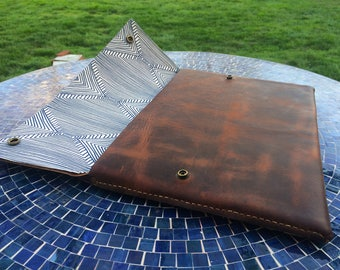 Leather Laptop Sleeve with Decorative Lining