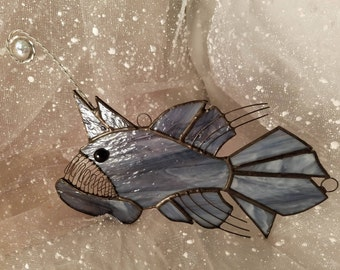 Angler Fish Stained Glass Suncatcher, marine decor, fisherman gifts, deep sea creatures, home decor, gifts for him, birthday gift