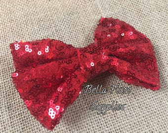 Red Sequin Bow with Clip- 5 Inch-  Large Sequin Bow- Red Sequin Hair Clip