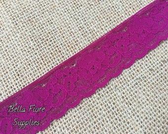 Plum Stretch Lace- Plum Stretch Lace Trim- 1 Inch Stretch Lace- Lace by the Yard- Wholesale Lace Trim