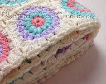 Made to order sunburst crochet granny square blanket throw
