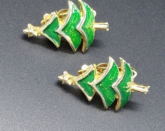 Vintage Gold Tone and Green Enamel Christmas Tree Clip Earrings