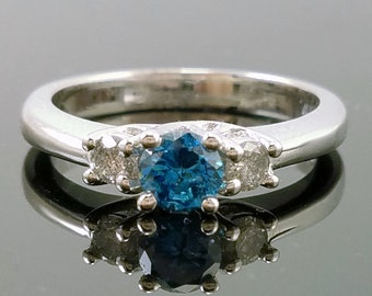 14K White Gold & .62ct. Fancy Blue Diamond Vintage Solitaire Engagement Ring - Size 7