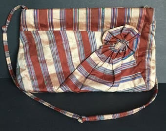 """Vintage Raw Silk, Striped Purse with 36"""" Shoulder Strap / Carpetbaggers of America"""
