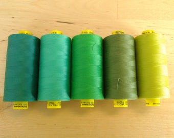 Green Gutermann Thread choose one in dark, emerald, spring, kelly, olive, lime, all purpose sewing thread, mara 100, 1000 meter spool