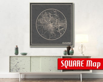 EUGENE OR SQUARE Map Eugene Oregon Poster City Map Eugene Oregon Art Print Eugene Oregon poster Eugene map