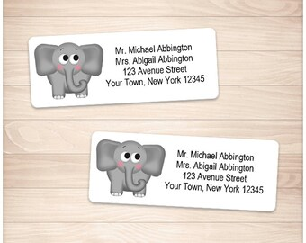 "Printable Elephant Address Labels - Adorable Gray Elephant - Personalized 2 5/8"" x 1"" Address Labels - Editable PDF - Instant Download"