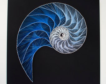 String art Nautilus - Yin Yang | Abstract pattern | Fibonacci string art | Custom string art | Nautical string art | String art shell