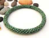 Turquoise Picasso bead Bracelet - Seed Bead Crochet Rope Bracelet - Japanese Glass Seed Bead Roll On Bracelet - Beaded Bangle