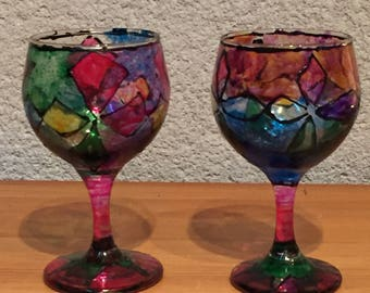 Stunning Hand-Painted Vintage Wine Glasses, Made in France