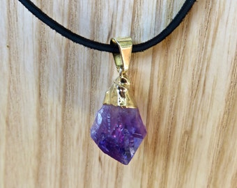 Black Suede Choker / Gold Dipped Amethyst Stone