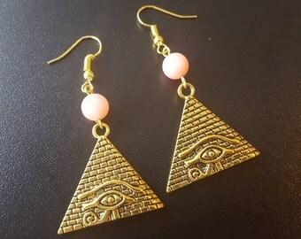 Pyramid gold eye rhodochrosite & earrings vintage earrings pink jewelry dangle earrings romantic earring chandelier gemstone