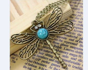 Pendant necklace Dragonfly of KetteTürkis necklace Dragonfly jewelry Dragonfly pendant antique pendant