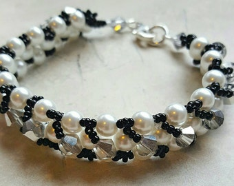 Right angle weave bracelet, Swarovski crystals and pearls, Czech Glass