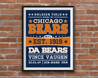 Chicago Bears, Personalised Football Print, Chicago Bears print, Bears poster, NFL football art, NFL print, any football team