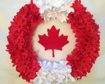 Punch Needle Embroidery with Paper flower wreath || maple leaf canada canadian wall hanging decor hoop door under gift pastel