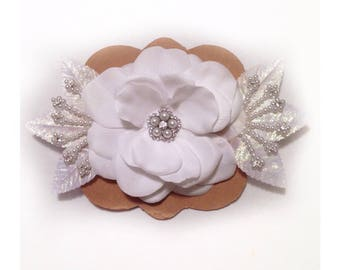 White Floral Headband accented with faux diamonds and pearls