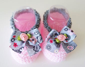 Ballerinas for hand-made woolen baby - Small shoes baby pink - Slippers for baby