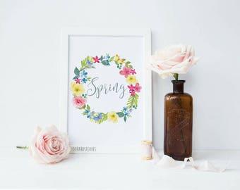 Spring Floral Wreath Print