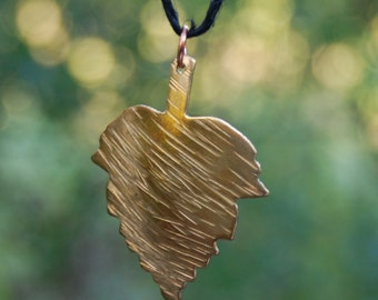 Hand Hammered Brass Leaf Pendant, Textured Leaf, Native American Leaf Jewelry, Cherokee Pendant, Fall Jewelry,