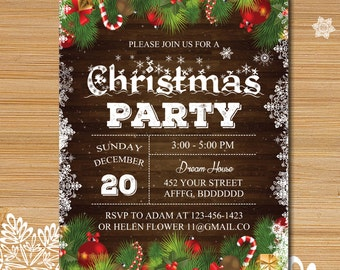 Holiday party invitation, Winter party, Christmas party invitation, snow invitation, Christmas party invitation #117
